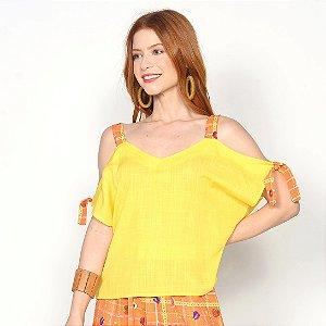 REF:. 7107 Blusa Amarela Xadrez Frutado Laranja