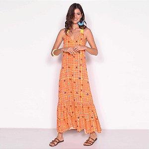REF:. 7118 Vestido Longo Cropped Xadrez Frutado Laranja