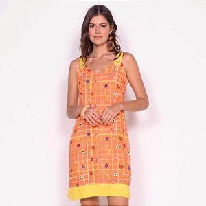 REF:. 7119 Vestido Curto Xadrez Frutado Laranja