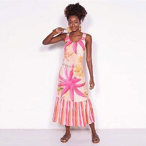 REF:. 7103 Vestido Midi Laranjamor Rosa