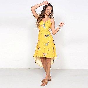 REF:. 7187  Vestido Midi Voe Alto Amarelo