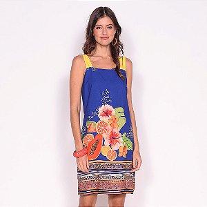 REF:. 6956  Vestido Curto Flor da Terra Azul