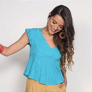 REF:. 7207  Blusa Viscose com Linho Azul