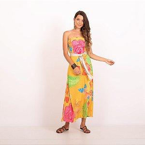 REF:. 7219  Vestido Begônias Amarela