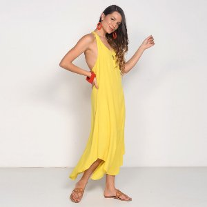 REF:. 7218  Vestido em Viscose com Linho Amarelo