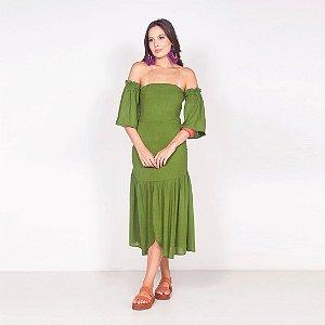 REF:. 6803 Vestido em viscose rústica - Verde