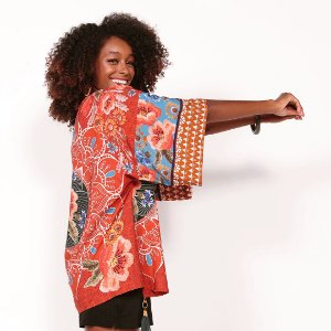"REF: 6917 Kimono ""Mandala""  - Fundo Telha"