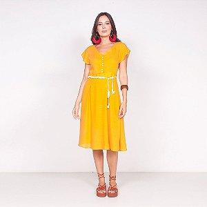 REF:.  6646 Vestido em viscose rústica - Amarelo queimado