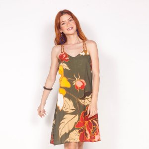 "REF:. 6396  Vestido curto evasê ""Flor dourada"""