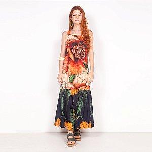 "REF:. 6842  Vestido ""Maxi floral"" - Fundo Natural"