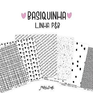 Kit de Papéis - Coleção Basiquinha Linha P&B (Ateliê Craft)