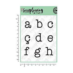 Cartela de Carimbo - Alfabeto Grande Máquina de Escrever (Scraplooving)