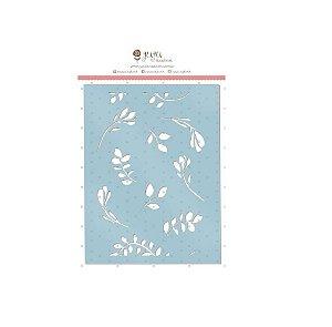 Stencil - Flores ( Paraíso Tropical ) Juju Scrapbook