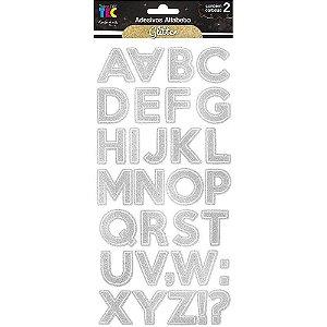 Cartela de Adesivo Alfabeto Grande Com Glitter - Toke e Crie