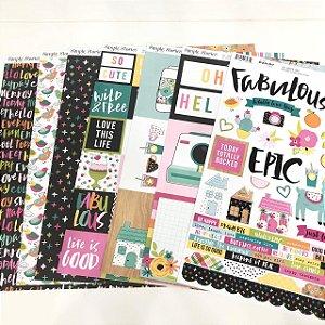 Kit de Papéis + Cartela de Adesivos - Coleção Oh Happy Day (Simple Stories)