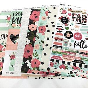 Kit de Papéis - Coleção Bloom (Simple Stories)
