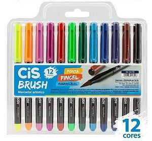 Caneta Cis Brush Marcador Artístico - Ponta Pincel Aquarelável (12 cores)