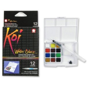 Estojo de Aquarela com Water Brush - koi Water Colors (Kakura)