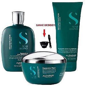 Kit Shampoo Máscara e Leave-in 200ml Reconstruction Alfaparf