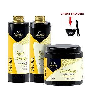 Kit Twist Energy Cachos Shampoo, Máscara e Ativador Sense