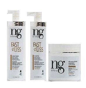 Kit Pós Fast Liss Shampoo, Condicionador 1l e Máscara 500g NG De France