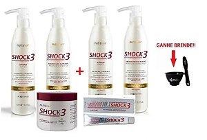 2 Kit Shock3 + Blindagem 500g + Complexo Nutra Hair