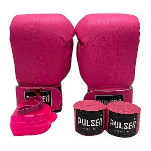Kit Boxe Luva de Boxe / Muay Thai Infantil 06oz PU + Bandagem + Bucal - Rosa - Pulser