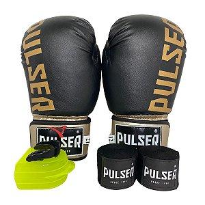 Kit Boxe Luva de Boxe / Muay Thai 12oz PU + Bandagem + Bucal - Preto com Dourado Minimal - Pulser