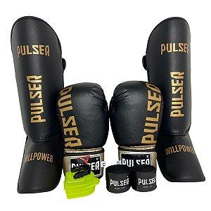 Kit Thai Luva de Boxe / Muay Thai 12oz PU + Caneleira 20mm + Bandagem + Bucal - Preto com Dourado Minimal - Pulser