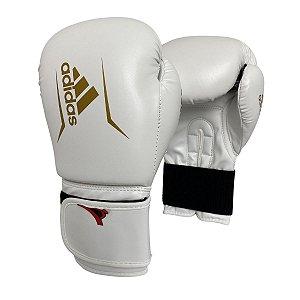 Luva de Boxe / Muay Thai 14oz Speed 50 - Branco com Dourado - Adidas