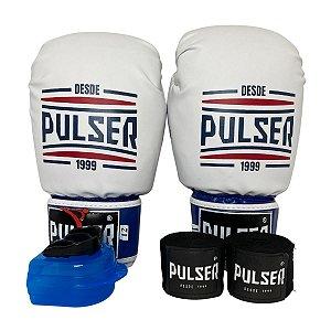 Kit Boxe Luva de Boxe / Muay Thai 12oz PU + Bandagem + Bucal - Branco Tricolor Sport - Pulser