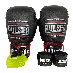Kit Boxe Luva de Boxe / Muay Thai 12oz PU + Bandagem + Bucal - Preto com Bordo Sport - Pulser