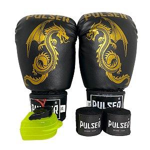 Kit Boxe Luva de Boxe / Muay Thai 16oz PU + Bandagem + Bucal - Preto com Dourado Dragão - Pulser
