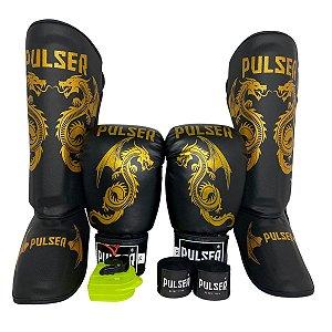 Super Kit Thai Luva de Boxe / Muay Thai 16oz PU + Caneleira 30mm G + Bandagem + Bucal - Preto com Dourado Dragão - Pulser