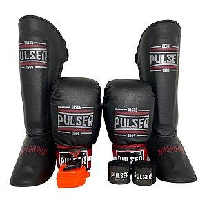Super Kit Thai Luva de Boxe / Muay Thai 14oz PU + Caneleira 30mm G + Bandagem + Bucal - Preto com Vermelho Sport - Pulser
