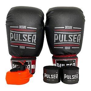 Kit Boxe Luva de Boxe / Muay Thai 14oz PU + Bandagem + Bucal - Preto com Bordo Sport - Pulser