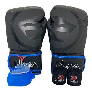 Kit Boxe Luva de Boxe / Muay Thai 12oz Black Line  + Bandagem + Bucal - Preto com Azul - Naja