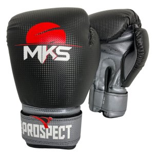Luva de Boxe / Muay Thai 14oz Prospect - Preto com Prata - MKS