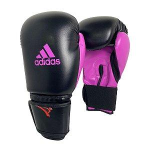 Luva de Boxe / Muay Thai Feminina 14oz Power 100 - Preto com Rosa - Adidas