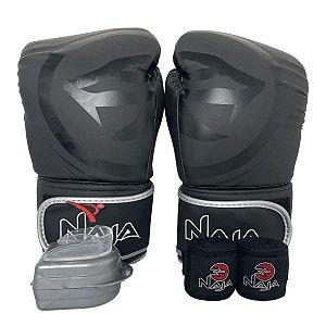Kit Boxe Luva de Boxe / Muay Thai 14oz Black Line  + Bandagem + Bucal - Preto com Prata - Naja
