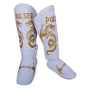 Caneleira Muay Thai MMA Kickboxing Tamanho Grande 30mm - Branco com Dourado Dragão - Pulser