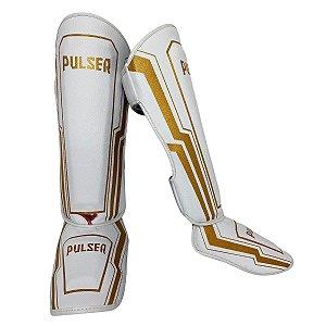 Caneleira Muay Thai MMA Kickboxing Tamanho Grande 30mm - Branco com Dourado Iron - Pulser