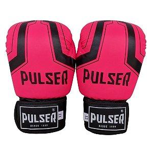 Luva de Boxe / Muay Thai Feminina 12oz PU - Rosa com Preto Iron - Pulser