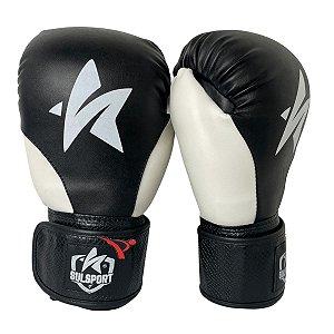 Luva de Boxe / Muay Thai 12oz PU - Preto com Branco - Sulsport
