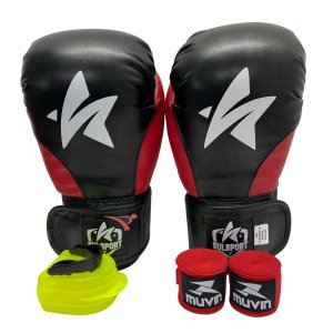 Kit Boxe Luva de Boxe / Muay Thai 12oz PU + Bandagem + Bucal - Preto com Vermelho - Sulsport