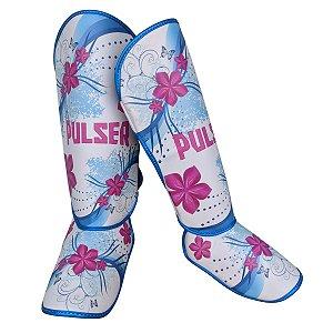 Caneleira Feminina Muay Thai MMA Kickboxing Tamanho Único 20mm- Azul com Rosa Floral - Pulser