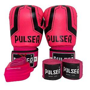 Kit Boxe Luva de Boxe / Muay Thai 10oz PU + Bandagem + Bucal - Rosa com Preto Iron - Pulser