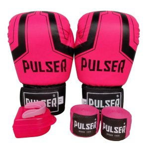 Kit Boxe Luva de Boxe / Muay Thai 12oz PU + Bandagem + Bucal - Rosa com Preto Iron - Pulser