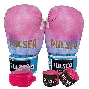 Kit Boxe Luva de Boxe / Muay Thai 12oz PU + Bandagem + Bucal - Tie Dye - Pulser