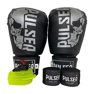 Kit Boxe Luva de Boxe / Muay Thai 16oz PU + Bandagem + Bucal - Preto com Prata Caveira - Pulser